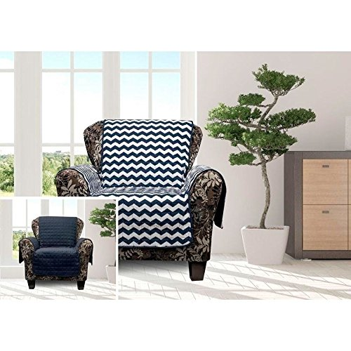 1 Piece Navy Blue Chevron Chair Protector, Geometric Medallion Shape Pattern Zig Zag Chic Ikat Jacquard Modern Sleek Trendy Furniture Protection Covers Couch Protection Cover Pets Animals, Polyester by MN