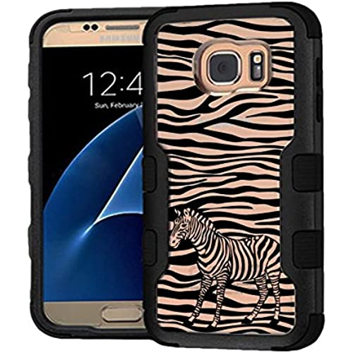 Galaxy S7 Case Zebra, Extra Shock-Absorb Clear back panel + Engineered TPU bumper 3 layer protection for Samsung Galaxy S7 (New 2016) Black Cover (Zebra Sales