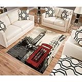BLOSSOMZ Terra London Rectangle Area Rug Black/white/red 5'3″x7'6″