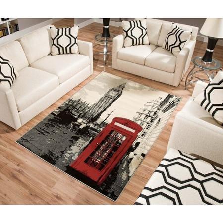 BLOSSOMZ Terra London Rectangle Area Rug Black/white/red 5'3
