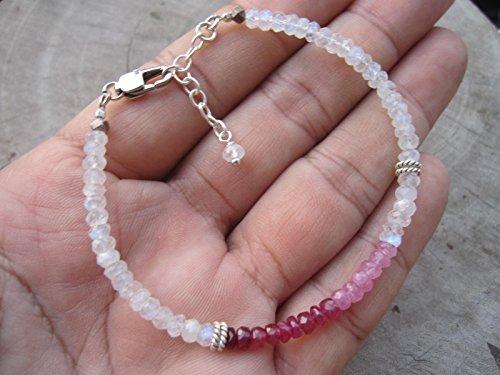 gemstone bracelet 925 silver stretchy pearl bracelet birthstone Moonstone bracelet white