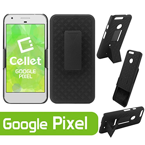 Cellet Premium Heavy Duty Shell / Holster / Kickstand Combo Cover Case with horizontal / Vertical Spring Belt Clip fits Google Pixel Cellphone / Retail Packaging - Kickstand Combo