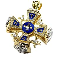 Silver 925 Gold 18k Plated Jerusalem Cross Pendant Blue Enamel Swarovski 1.3