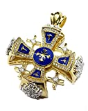 Silver 925 Gold 18k Plated Jerusalem Cross Pendant Blue Enamel Swarovski 1.3''