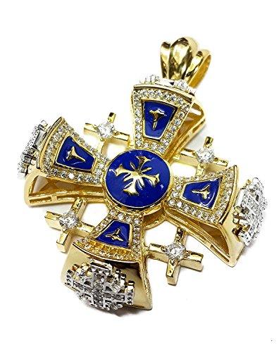 Silver 925 Gold 18k Plated Jerusalem Cross Pendant Blue Enamel Swarovski 1.3'' by Nazareth Store