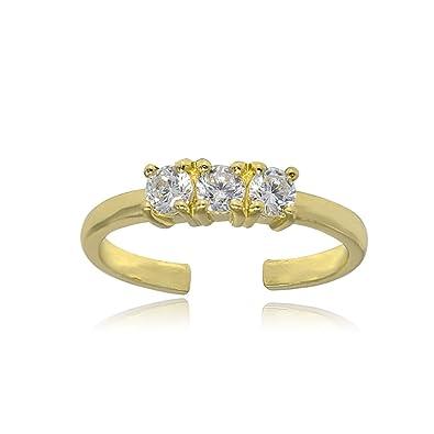 18k Gold over Sterling Silver CZ Fleur-de-Lis Toe Ring uWTQrMV0Nl