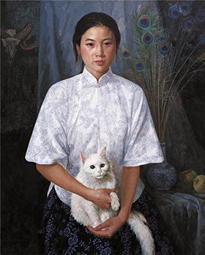 Oil Painting 'a Woman With A White Cat', 20 x 25 inch / 51 x 63 cm , on High Definition HD canvas prints is for Gifts And Basement, Living Room And Powder Room Decoration, where to get