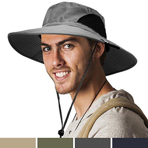 SUN CUBE Premium Boonie Hat with Wide Brim, Adjustable Chin Strap | Outdoor Hat for Fishing, Hiking, Safari, Travel | Summer Sun Protection, UPF 50+| Breathable Packable Cap for Men, Women (Gray)