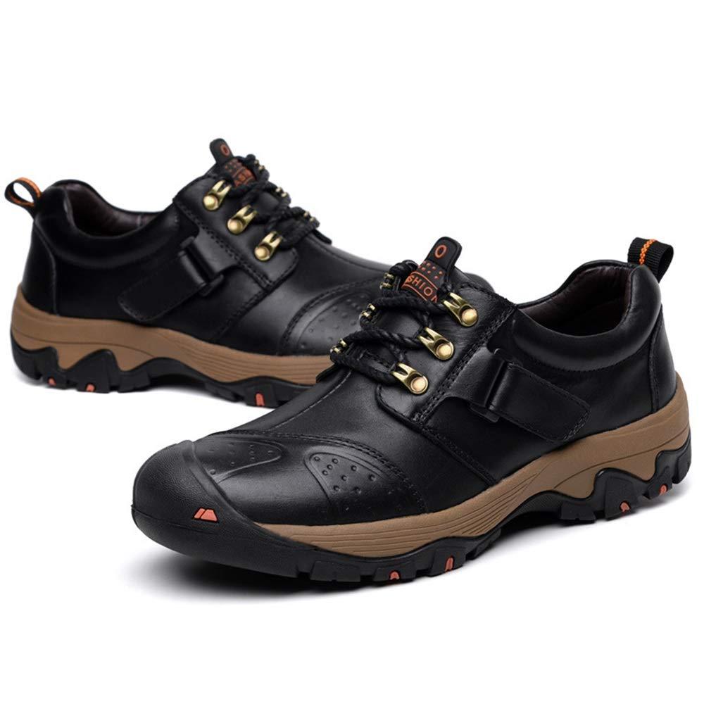 Qiusa Herren Outdoor-Sportschuhe aus echtem Leder beiläufige atmungsaktive Walking Kletterschuhe (Farbe   Schwarz Größe   EU 40)