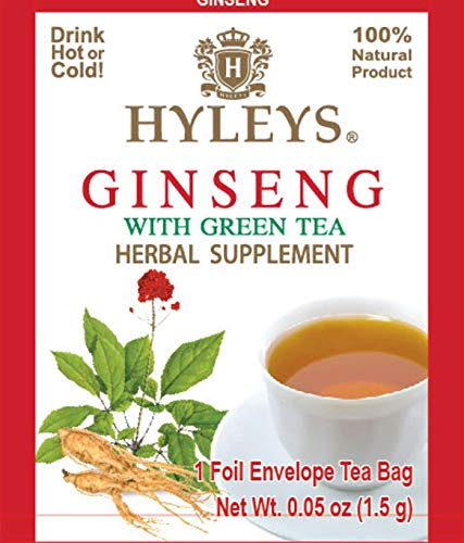 12 Pack of Hyleys Wellness Ginseng with Green Tea - 25 Tea Bags (GMO Free, Gluten Free, Dairy Free, Sugar Free and 100% Natural)