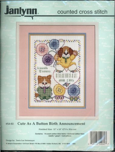 - Cute As a Button Birth Announcement Counted Cross Stitch - 11