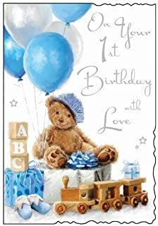 Blue Teddy 1st Birthday Card JJ1511