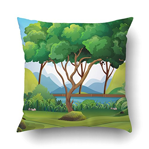 Emvency Pillow Covers Decorative Forest Scene With River And Trees Illustration Bulk With Zippered 20x20 Square Pillow Case For Home Bed Couch Sofa Car One (Clipart Cottage)