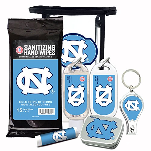 NCAA 6-Piece Fan Kits with Decorative Mint Tin, Nail Clippers, Hand Sanitizer, SPF 15 Lip Balm, SPF 30 Sunscreen, Sanitizer Wipes. North Carolina Tar Heels Gifts for Men and Women ()