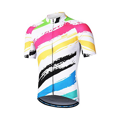 2c6415ce032 ARSUXEO Mens Cycling Jersey Short Sleeves Mountain Bike Shirt MTB Top  Zipper Pockets Reflective