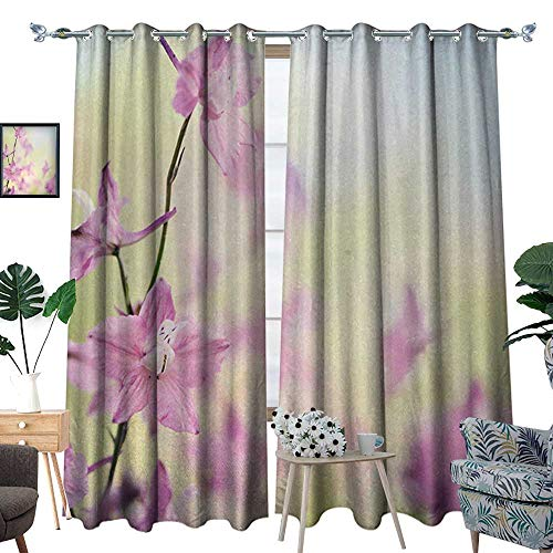 (Floral Room Darkening Wide Curtains Larkspur Petals with Bokeh Backdrop Summer Season Botany Bouquet Image Decor Curtains by W84 x L96 Baby Pink Pale)
