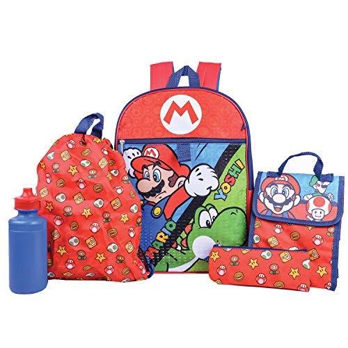 Super Mario Backpack Combo Set - Nintendo Super Mario 5 Piece Backpack School Set ()