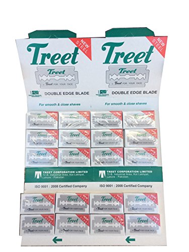 Treet New Steel Double Edge Safety Razor Blades, 100 Count