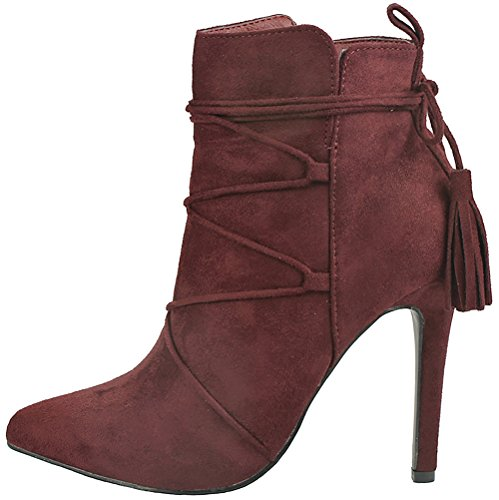 Jjf Chaussures Femmes Audrey Gland Décor Bout Pointu Faux Suède Zip Doux  Fourré Stiletto Talon Cheville ... c99f1d70649