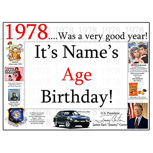 1978 40TH BIRTHDAY CUSTOMIZED DOOR POSTER (EACH) by