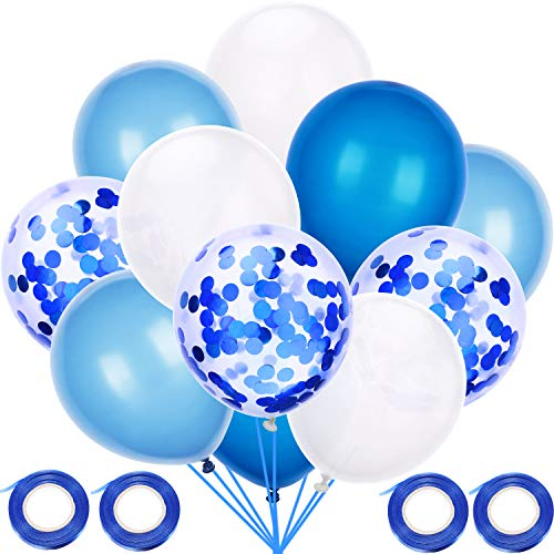 Blulu 60 Pieces Solid Color Latex Balloons Party Decorative Balloons with 4 Rolls Ribbons for Baby Shower Party Wedding Birthday Decoration (Light Blue, Dark Blue, White)