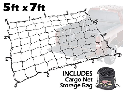 5ft x 7ft PowerTye Mfg Truck & Trailer Large Elastic Cargo Net with 14 Adjustable Hooks, Includes Large Drawstring Net Storage Bag, Black Net