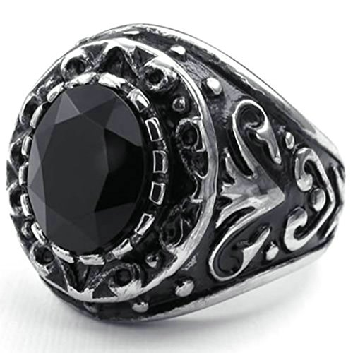 Stainless Steel Ring for Men, Round Ring Gothic Black Band Silver Band 20MM Size 11 Epinki