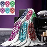 Day of The Dead Digital Printing Blanket Skull Oriental Mexican Sugar for Festive Day Summer Quilt Comforter 80''x60'' Purple Fuchsia Indigo Turquoise Green