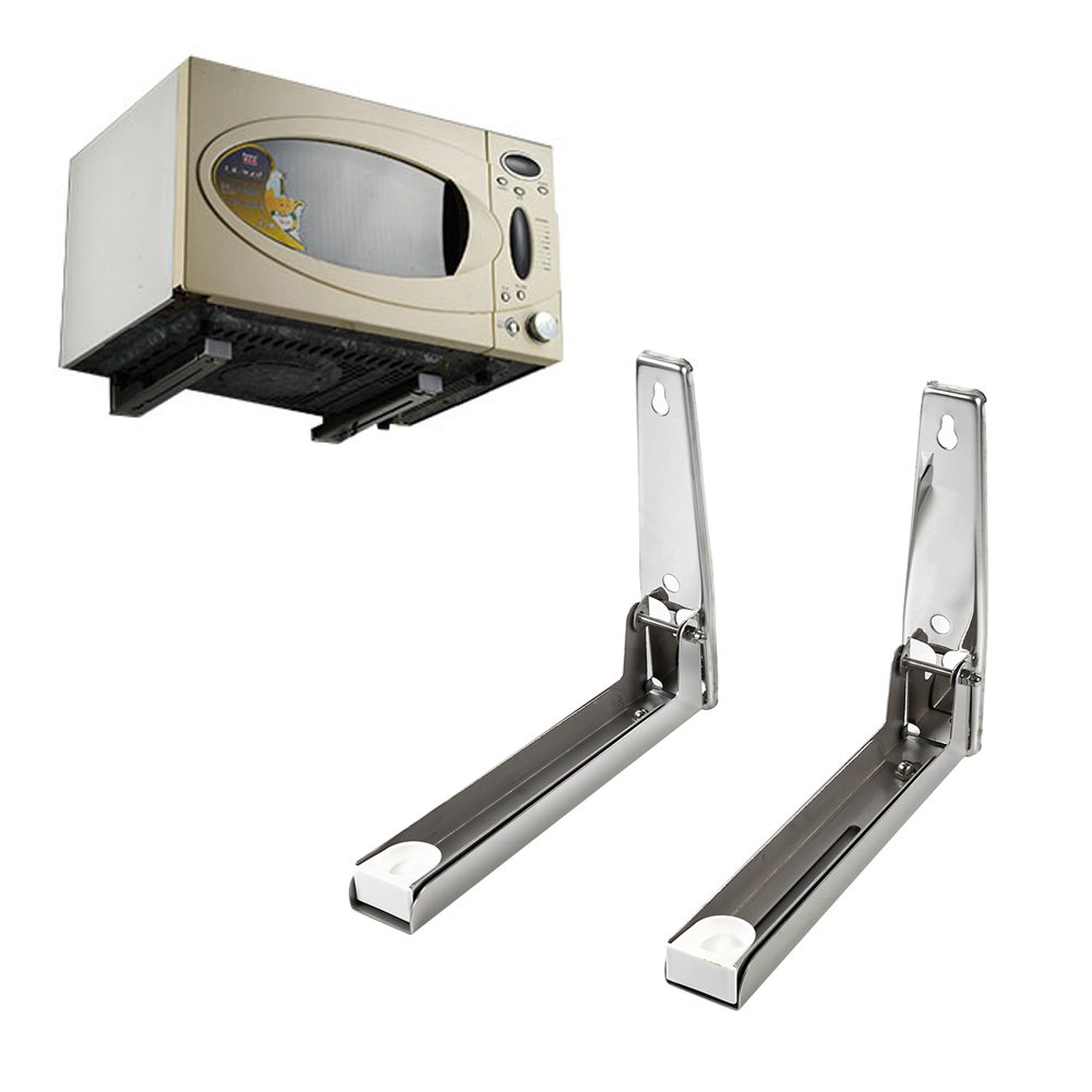 Stainless Steel Microwave Oven Bracket Foldable Stretch Wall Mount Rack Shelf