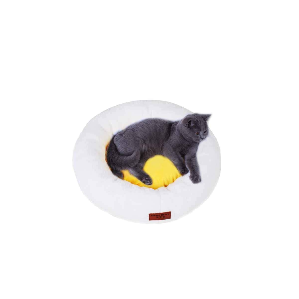 Cat nest, Kennel, Washable Egg Yolk, cat Bed, pet cat mat, cat Sleeping Bag, Four Seasons Universal Kennel, Small Dog mat, Dog Bed, cat Supplies (color   Egg Yellow, Size   L)