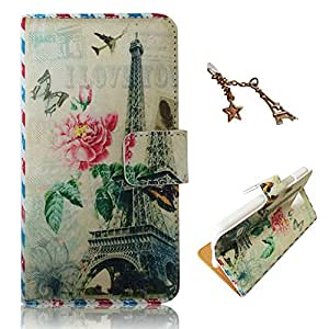Uming® Retro Print Flower case for Nokia Lumia 520 N520 Note Book Style Cloth Material Sew PU-Leather Flip Leather Holster with Stand Stander Holder Hand Free Credit Card Slot Wallet Hasp Magnet Magnetic Button Buckle Shell Protective Mobile Cell Phone Case Cover Bag Eiffel Tower Bloom Flower Butterfly Plane Aircraft Envelope Style Postmark + 1 x Anti Dust Plug - Right Tower Envelope