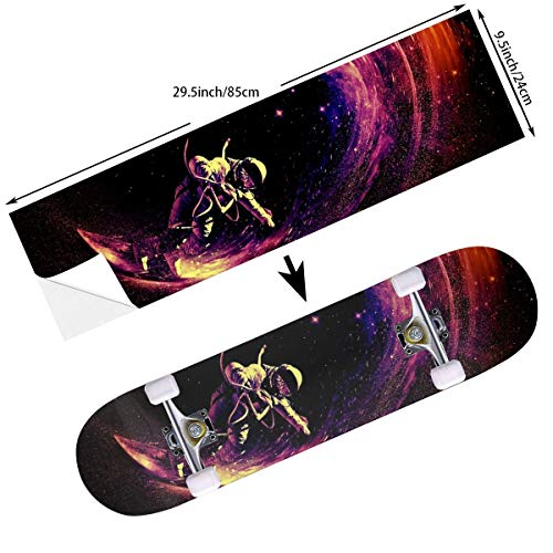STREET FFX Fashion Funny Skateboard Cruiser Deck and Balance Board Stickers Decals Grip Tape - 9.5 x 33.5 Inches - Astronaut Space Surfing Universe Galactic Surf - Board Street Surfing Wave