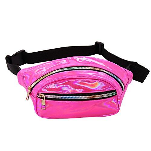 a986519f5f8a Hengreda Holographic Fanny Pack Women Laser Bum Bag Travel Beach Shiny  Waist Bags Raves Hip Bag Fashion Hologram PVC Travel (Glod)