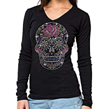 Sugar Skull Rhinestone Long Sleeves V Neck T-Shirt Black S-3XL Juniors