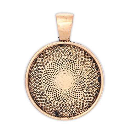 (20PCS 20mm Round bezels Pendant Trays,Circle Pendant Trays,Photo Pendants,Antique Gold)