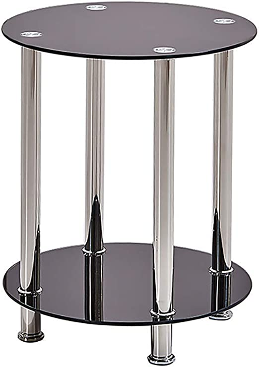 Amazon Com Homesailing Small Round Black Glass Side End Table