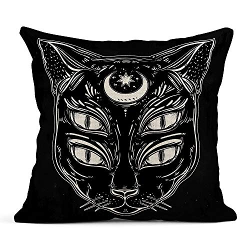 Emvency Throw Pillow Cover Print Linen Square 20x20 Inches Hidden Zipper Black Cat Head Portrait Moon and Four Eyes Eyed is Ideal Halloween Tattoo Wierd Pillowcase one Side Design Home Sofa Decor