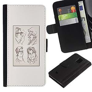 Planetar® Modelo colorido cuero carpeta tirón caso cubierta piel Holster Funda protección Samsung Galaxy S5 Mini (Not S5), SM-G800 ( Portrait Character Drawing Poster )