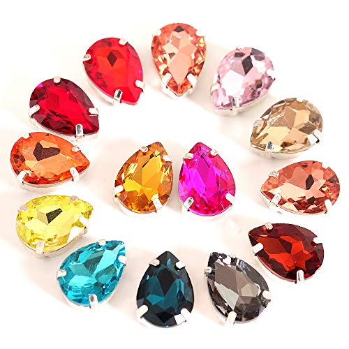 (BLINGINBOX 40PCS Tear Drop Mixed Color Glass Sew On Rhinestones with Silver Claw Drop Crystal Sew On Claw Rhinestone Glitter Stones(8x13mm))
