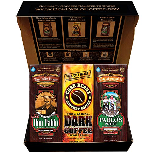 Don Pablo Holiday Gift Box Coffee Sampler - Variety of 3 Bags Whole Bean Coffee 12oz -Italian Espresso - CharBeanz - Guatemala