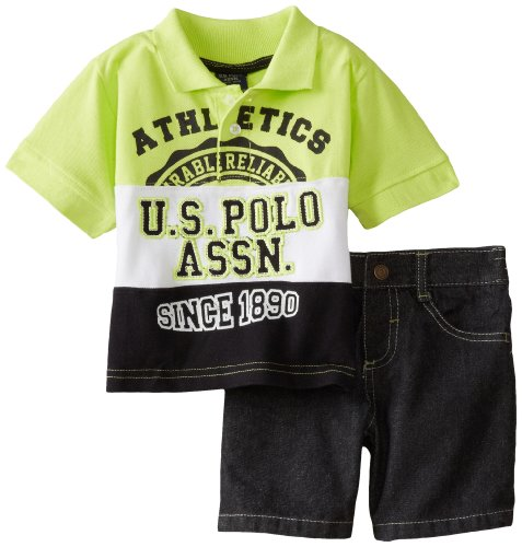 U.S. Polo Assn. Baby Boys' Denim Short with Cut and Sewn Pique Polo, Lime, 12 Months