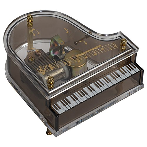 (Splendid Music Box Co. Clear Acrylic Baby Grand Piano Musical Figurine Plays Tune Lara's Theme)