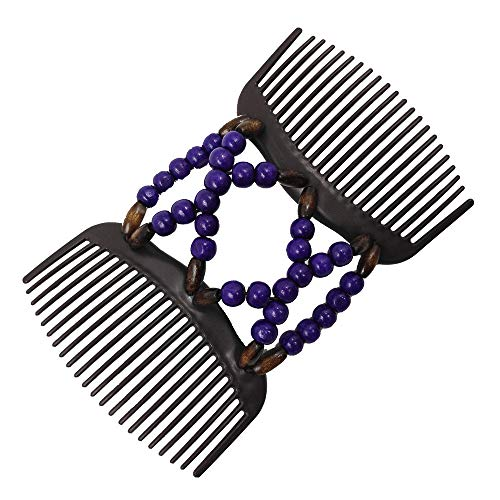 Pausseo Hair and Beard Combs Unisex Double Foldable Portable Durable Magic Wooden Clip Hairpins Double Row Insert Elastic Comb Best Hair Accessories for Women - Comfy UpDo - French Twist (Purple)
