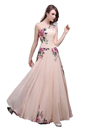 Edaier Womens Floral Print Graceful Chiffon Prom Evening Dresses for Women