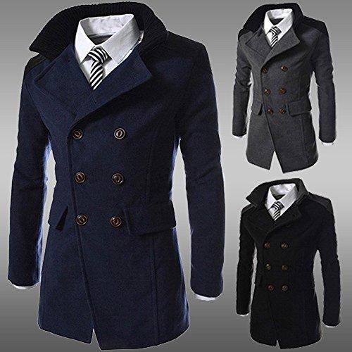 Pardessus Long Gris Solde overdose Classique Homme Coat Outwear Laine Manteau Hiver En Trench pwxfTprnq