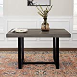 distressed wood dining table WE Furniture 6 Person Modern Farmhouse Distressed Wood Rectangle Kitchen Dining Table, 52 Inch, Grey