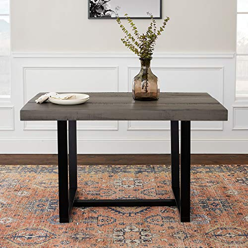 WE Furniture 6 Person Modern Farmhouse Distressed Wood Rectangle Kitchen Dining Table, 52 Inch, Grey