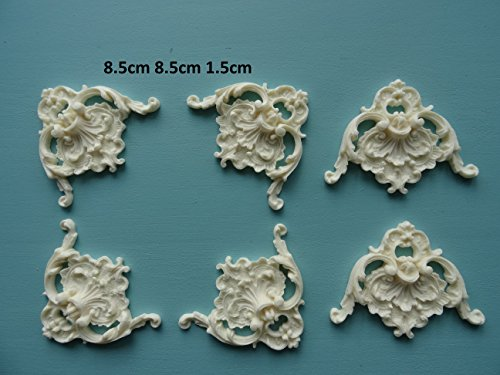 Decorative large ornate corners x 6 applique onlay furniture moulding VOCLX6 ()