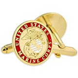 PinMart Gold USMC Marine Corps Enamel Lapel Pin & Cufflink Military 2 Pc Bundle