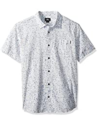 Men's Standard Fit Short Sleeve Woven Party Shirt